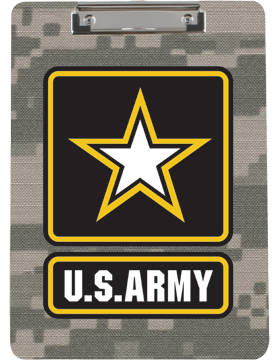 Clipboard U.S. Army with Star on Camo with Flat Clip