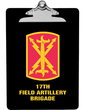 Clipboard 17th Field Artillery Brigade Patch on Black with Standard Clip