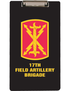 Clipboard 17th Field Artillery Brigade Patch on Black with Flat Clip