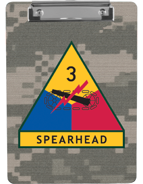 Clipboard 3rd Armor Division Patch on Camo with Flat Clip
