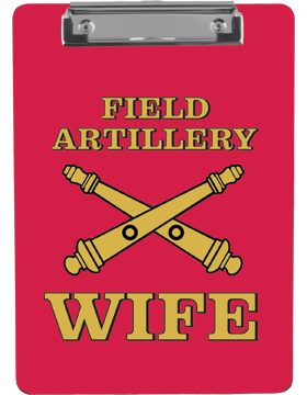 Clipboard Field Artillery Wife on Red with Flat Clip
