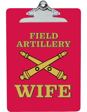 Clipboard Field Artillery Wife on Red with Standard Clip