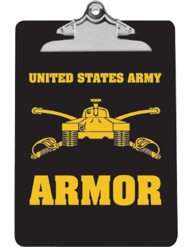 Clipboard USAR Armor with Tank on Black with Standard Clip