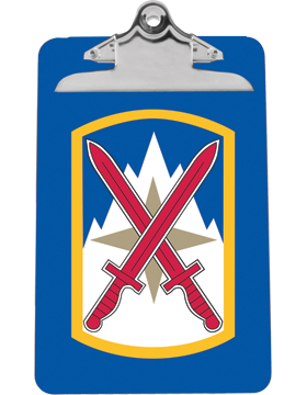 Clipboard 10th Sustainment Brigade Patch on Blue with Standard Clip