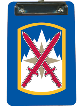 Clipboard 10th Sustainment Brigade Patch on Blue with Flat Clip small