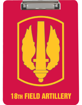 Clipboard, 18th Field Artillery Patch, Red, Flat Clip