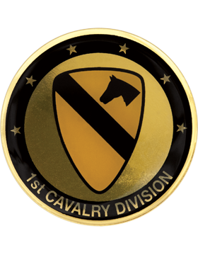 STOCK COIN-0001B 1 Cavalry Division Domed Enamel