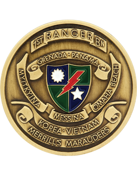 1st Ranger Battalion Stock Coin with Enamel