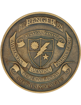 STOCK COIN-0001F 1 Ranger Battalion with Panama Brass Ox