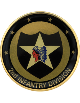 2nd Infantry Division Stock Coin with Domed Enamel