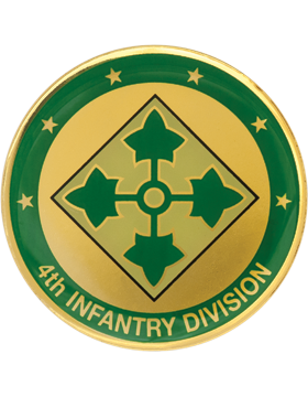 4th Infantry Division Stock Coin with Domed Enamel
