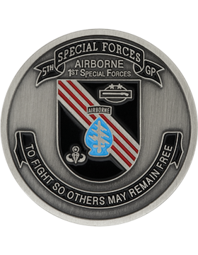 5th Special Forces Vietnam Stock Coin Pewter with Enamel