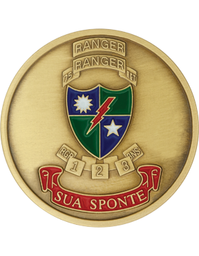 75th Ranger Regiment Stock Coin Bronze with Enamel