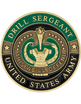 Drill Sergeant Stock Coin Bronze with Enamel