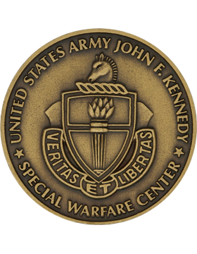 John F. Kennedy (JFK) Special Warfare Center Stock Coin Brass Ox