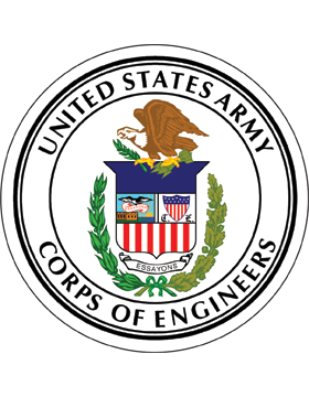 Coaster US Army Corps of Engineers with Seal on White