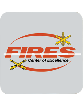 Gray, Fires Center of Excellence, Gloss, Square Coaster