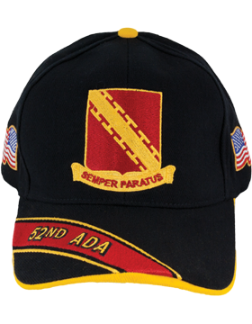 Cap (DC-ADA/DUI-0052A/B) Black with 52 Air Defense Artillery Crest