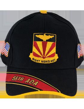 Cap (DC-ADA/DUI-0056A/B) Black with 56 Air Defense Artillery Crest small