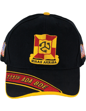 Cap (DC-ADA/DUI-0111A/B) Black with 111 Air Defense Artillery Brigade Crest