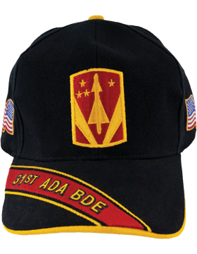 Cap (DC-ADA/P-0031A/B) Black with 31 Air Defense Artillery Patch