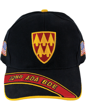 Cap (DC-ADA/P-0032A/B) Black with 32 Air Defense Artillery Patch
