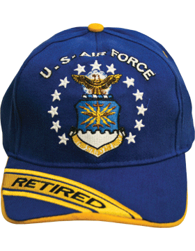 Cap Royal Blue with U.S. Air Force (3D) and Shield Retired (Yellow) DC-AF/002A