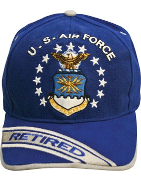 c0808daf34d Cap Royal Blue with U.S. Air Force (3D) and Shield Retired (Gray)