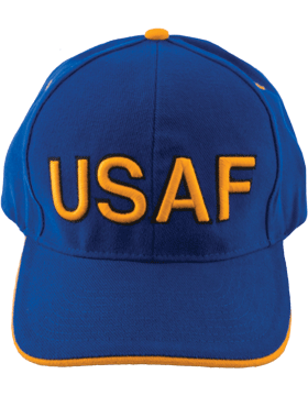 Cap Royal Blue with U.S. Air Force (3D) Gold Edge Trim DC-AF/003B