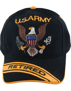 Cap (DC-AR-002) Black with Retired U.S. Army (3D) and Eagle