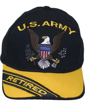 Cap (DC-AR/005) Black and Gold with Retired U.S. Army (3D) and Eagle