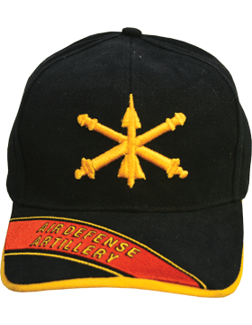 Cap (DC-AR/202A) Black with Air Defense Artillery Branch Of Service with  Bill E