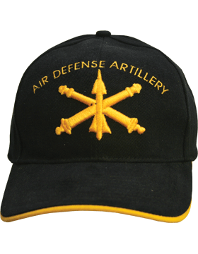 Cap (DC-AR/202) Black with Air Defense Artillery Branch Of Service (3D)