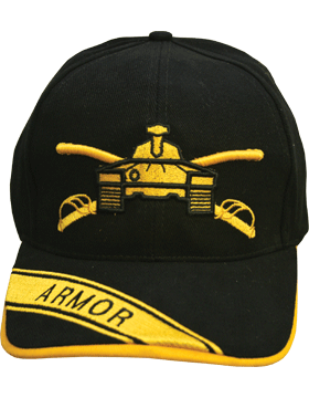 Cap (DC-AR/203A) Black with Armor Branch Of Service (3D) with Bill Embroidery