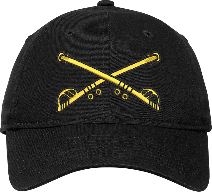 Cap (DC-AR/205A) Black with Cavalry Branch Of Service (3D) with Bill Embroidery