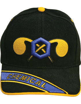 Cap (DC-AR/208A) Black with Chemical Branch Of Service (3D) with Bill Embroidery