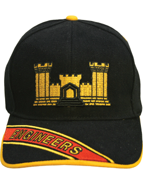 Cap (DC-AR/210A) Black with Engineer Branch Of Service with Bill Embroidery
