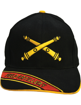 Cap (DC-AR/211A) Black with Field Artillery Branch Of Service w/ Bill Embroidery