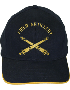 Cap (DC-AR/211) Black with Field Artillery Branch Of Service (3D)