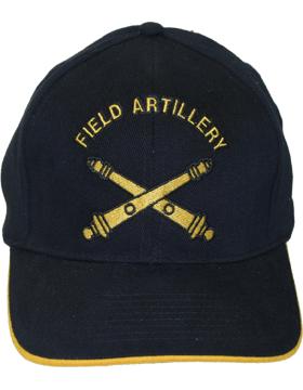 Cap (DC-AR/211) Black with Field Artillery Branch Of Service (3D)