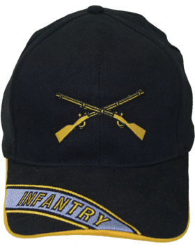 Cap (DC-AR/214A) Black with Infantry Branch Of Service with Bill Embroidery