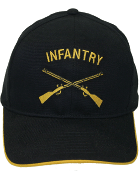 Cap (DC-AR/214) Black with Infantry Branch Of Service (3D)
