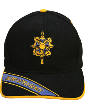 Cap (DC-AR/223A) Black with Military Intelligence Branch Of Service w/ Bill Emb