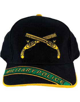 Cap (DC-AR/224A) Black with Military Police Branch Of Service w/ Bill Embroidery