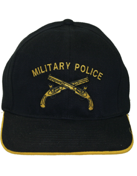 Cap (DC-AR/224) Black with Military Police Branch Of Service (3D)