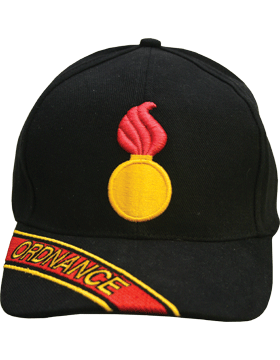 Cap (DC-AR/226A) Black with Ordnance Branch Of Service with Bill Embroidery