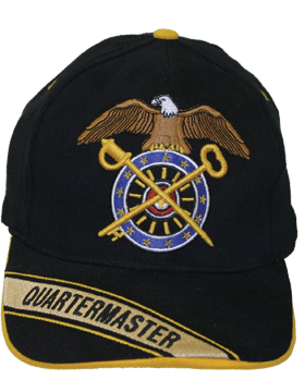 Cap (DC-AR/227A) Black with Quartermaster Branch Of Service with Bill Embroidery