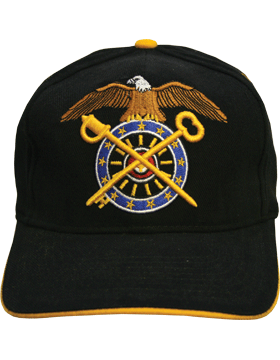 Cap (DC-AR/227) Black with Quartermaster Branch Of Service (3D)