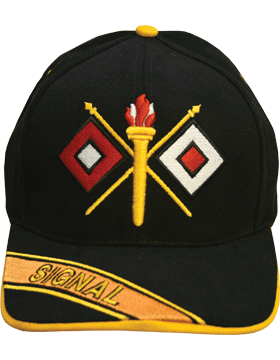 Cap (DC-AR/228A) Black with Signal Branch Of Service with Bill Embroidery