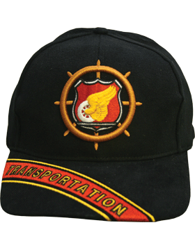 Cap (DC-AR/232A) Black with Transportation Branch Of Service w/ Bill Embroidery